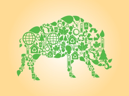 Wild boar made with ecology icons background Vector