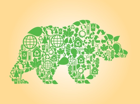 permaculture: Bear made with ecology icons background Illustration