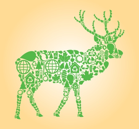 permaculture: Deer made with ecology icons background Illustration