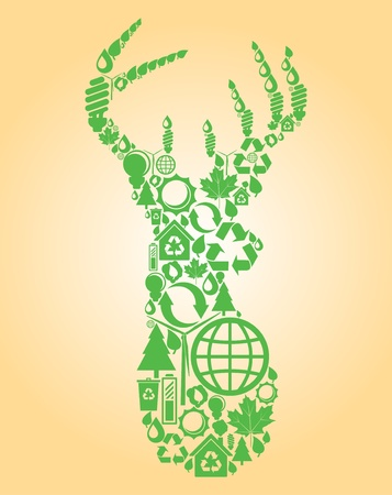 Deer made with ecology icons background Stock Vector - 10351158