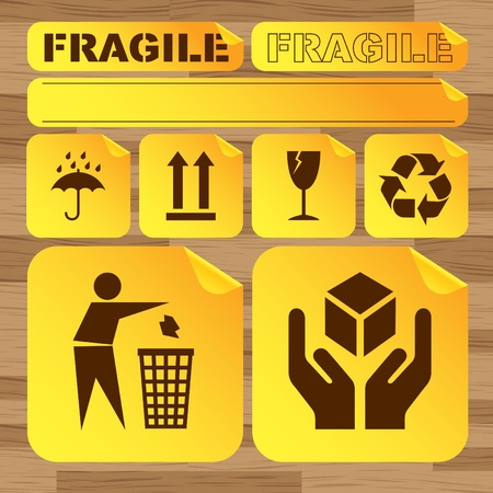 Fragile signs background set Vector