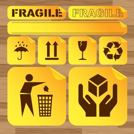 removing: Fragile signs background set Illustration