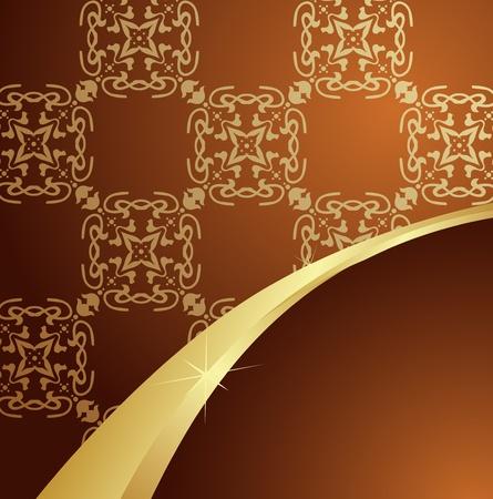splendor: Brown vintage background with golden element Illustration