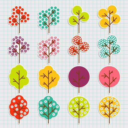 Tree set vector background Vector