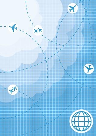 flightpath: Planes speeding on their flight paths background Illustration