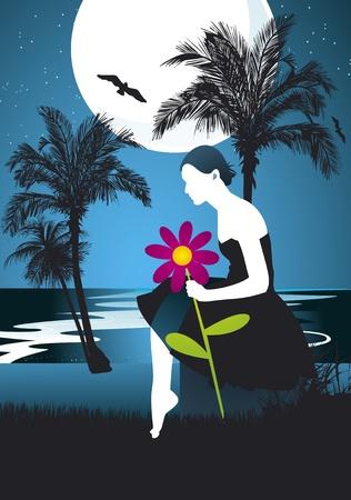 goodbye: Woman romantic night background