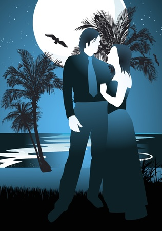 hot couple: Man and woman romantic night background Illustration