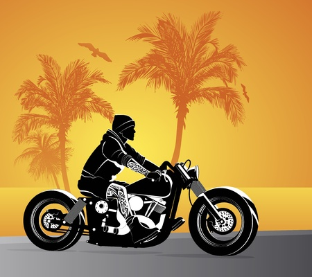 Motorcycle vector background with driver Stock Vector - 10351430