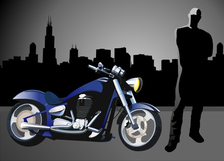 harley: Motorcycle background with driver