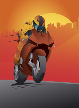 motor race: Motorcycle achtergrond met chauffeur Stock Illustratie