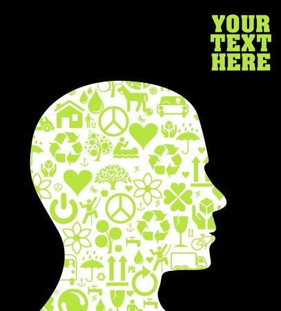 man face profile: Fondo de cabeza de Ecolog�a Vectores