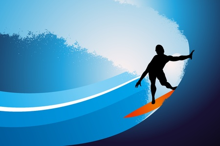 Surfer on wave background Stock Vector - 10351390