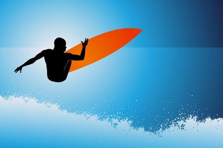 Surfer on wave background Vector