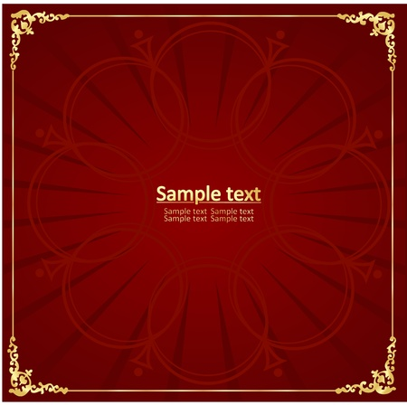gold floral: Red vintage background