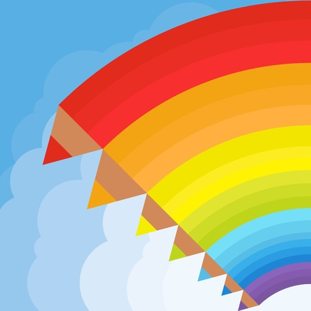 early summer: Animated pencil rainbow background illustration Illustration