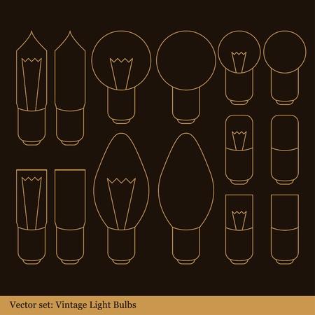 conserving: Vintage light bulb illustration collection Illustration