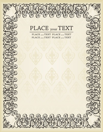 Vintage frames and elements background illustration Stock Vector - 10351166