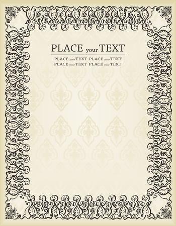 Vintage frames and elements background illustration Stock Vector - 10351166