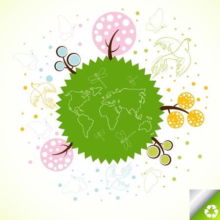 Green tree planet background illustration Vector