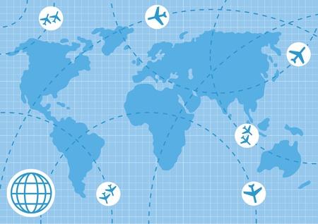 aerei: Animato aereo mappa di sfondo illustrazione di business Vettoriali