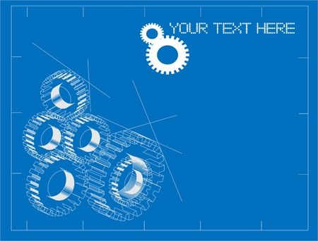 gears concept: Animated blueprint mechanical plans background illustration Illustration