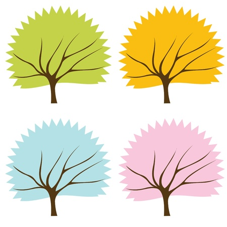 Animated colorful tree collection Stock Vector - 10350506