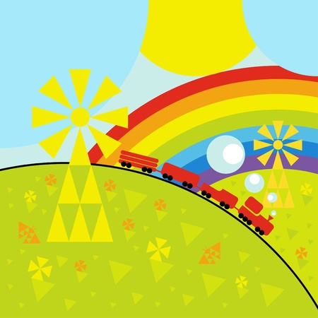 Animated toy train background illustration Vector