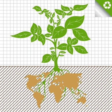reforestaci�n: Ilustraci�n del concepto de agricultura ecolog�a mundial alimentaria