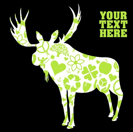 hunting season: Moose made of ecology green icons illustrations