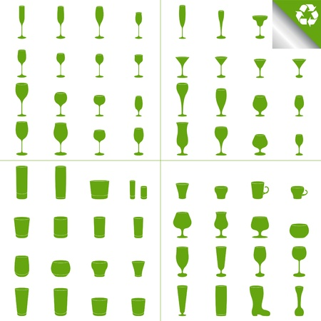 glass with red wine: Green recycle glass set illustration