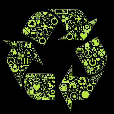 Green ecology icon made concept background illustration Stock Vector - 10351212