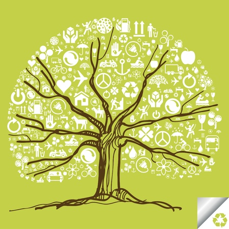 Cute colorful ecology icon tree background illustration Vector