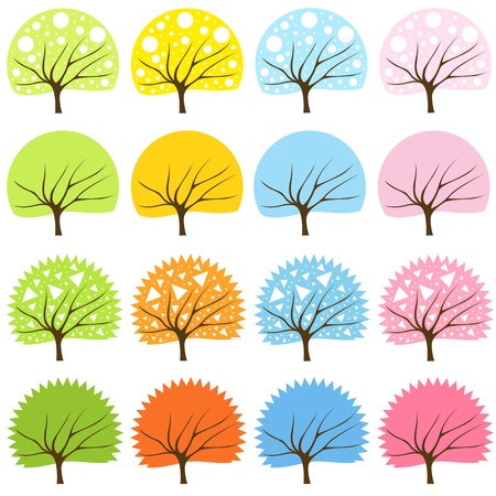 Cute colorful animated tree collection Vector