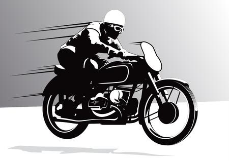 motor race: Vintage biker rijder achtergrond illustratie