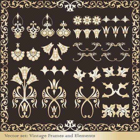 Vintage frames and elements illustration collection Vector
