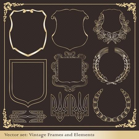Vintage wapenschild kaders en elementen illustratie collectie Vector Illustratie