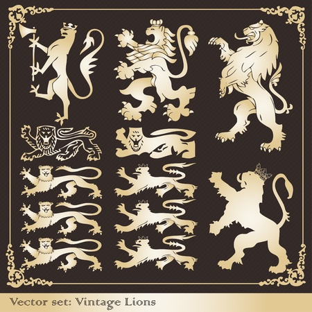 escudo de armas: Colección del ilustración de marcos y elementos de escudo León Vintage Vectores