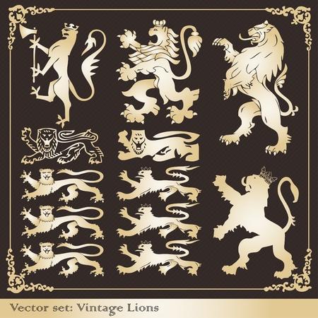 nobleman: Collezione vintage Leone Stemma cornici ed elementi illustrazione