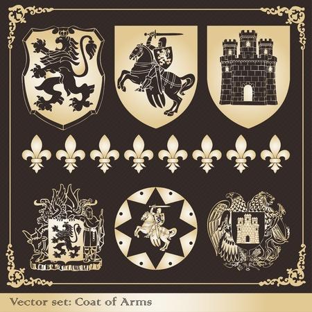 nobleman: Cappotto di cornici d'epoca di armi ed elementi collezione illustrazione