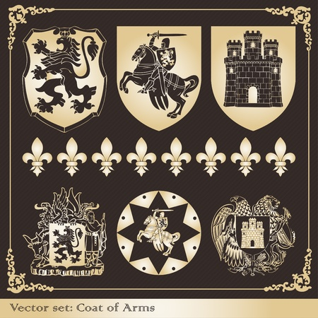 Vintage coat of arms frames and elements illustration collection Vector