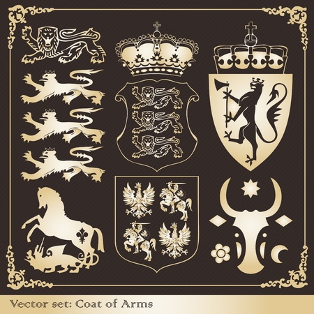 royal family: Vintage coat of arms frames and elements illustration collection