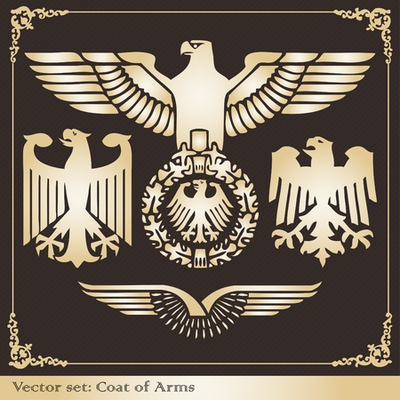 Vintage eagle coat of arms illustration collection Vector