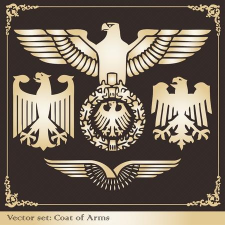 Vintage eagle coat of arms illustration collection