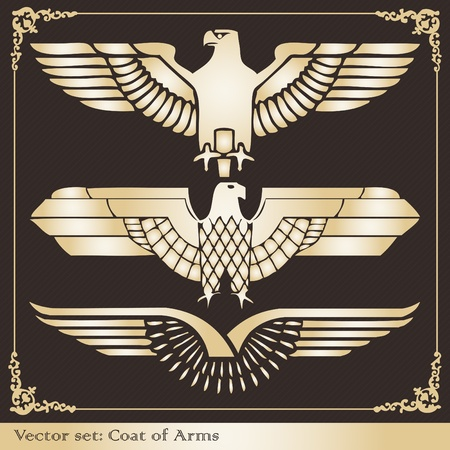 ancient bird: Vintage eagle coat of arms illustration collection Illustration