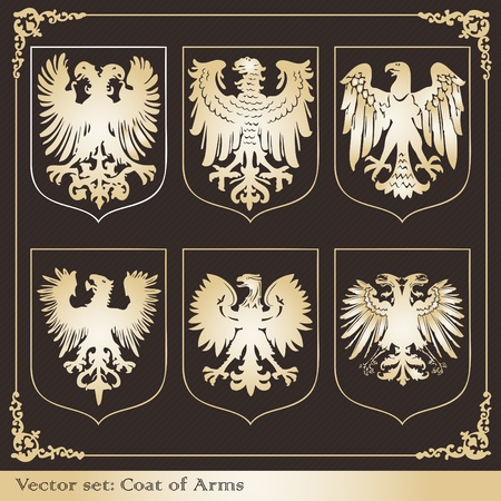royal family: Vintage eagle coat of arms illustration collection Illustration