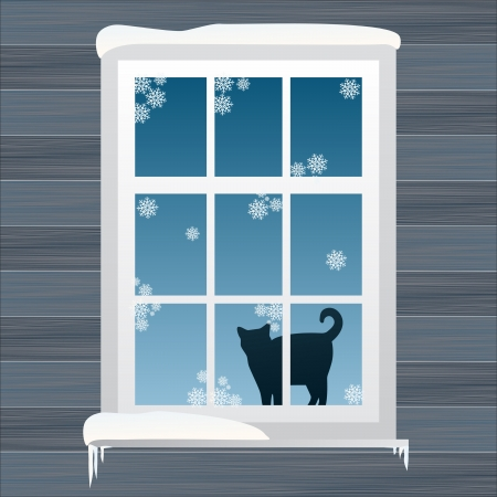 gold house: Lovely Christmas window background illustration Illustration