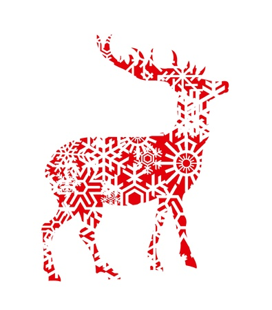 christmas elk: Christmas deer background illustration