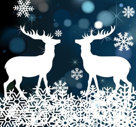 Christmas deer background illustration Stock Vector - 10364931