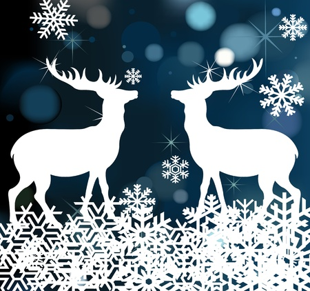 Christmas deer background illustration Vector