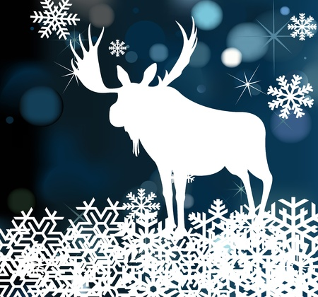 elk horn: Christmas moose background illustration Illustration